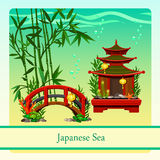 Japanese sea with elements of Japanese culture Stock Photo