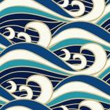 Japanese sea waves pattern vector illustration