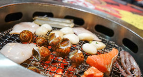 Japanese Seafood BBQ Stock Photos