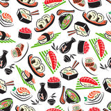 Japanese seafood cuisine seamless pattern Stock Photography