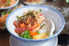 Japanese Seafood dish. All fresh seafood from the Japanese sea is in this bowl Stock Photos