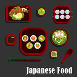 Japanese seafood dishes and dessert Royalty Free Stock Photo