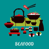 Japanese seafood in flat style Royalty Free Stock Images
