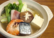 Japanese seafood hotpot Stock Images