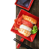 Japanese seafood sushi and chopsticks Royalty Free Stock Photography