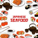 Japanese seafood sushi fish sashimi vector poster. Sushi restaurant vector poster with Japanese seafood sushi, sashimi and seafood dish. Oriental Japan cuisine stock illustration