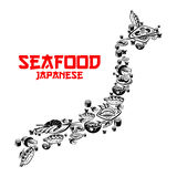 Japanese seafood, sushi forming map of Japan Stock Photos