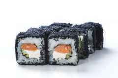 Japanese seafood sushi. Roll on a light background Royalty Free Stock Photos