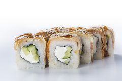 Japanese seafood sushi. Roll on a light background Royalty Free Stock Image