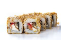 Japanese seafood sushi. Roll on a light background Royalty Free Stock Photography