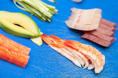 Japanese seafood for sushi Royalty Free Stock Photo