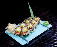 Japanese seafood sushi , roll and chopstick Royalty Free Stock Photography