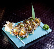 Japanese seafood sushi , roll and chopstick Stock Images