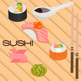 Japanese seafood sushi , roll and chopsticks Stock Images