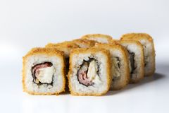 Japanese seafood sushi. Roll on a light background Stock Photo