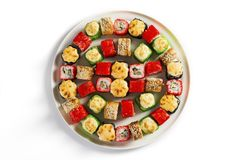 Japanese seafood sushi. Roll on a light background Royalty Free Stock Images