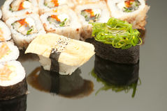 Japanese seafood sushi , roll set closeup Royalty Free Stock Photo
