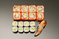 Japanese seafood sushi , roll set Royalty Free Stock Images