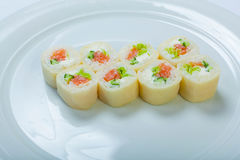 Japanese seafood sushi , roll on a white background Stock Images