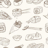 Japanese seafood sushi rolls with salmon, smoked eel, selective food vector seamless pattern royalty free illustration