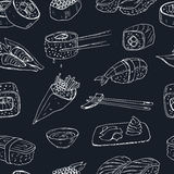 Japanese seafood sushi rolls seamless pattern with salmon, smoked eel, selective food vector. royalty free illustration