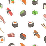 Japanese seafood sushi rolls seamless pattern. Traditional food. Royalty Free Stock Photography