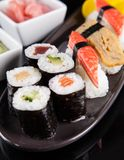 Japanese seafood sushi set Stock Images