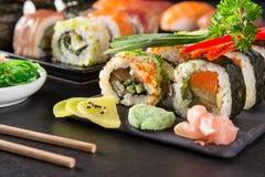 Japanese seafood sushi set Stock Images