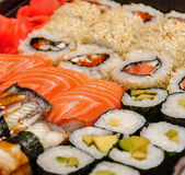 Japanese seafood sushi set on black background Royalty Free Stock Photography