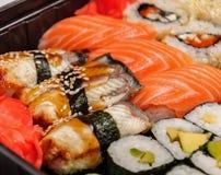 Japanese seafood sushi set on black background Stock Photography