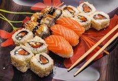 Japanese seafood sushi set on black background Stock Photos