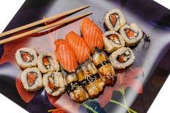 Japanese seafood sushi set on black background Stock Image