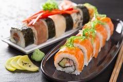 Japanese seafood sushi set Royalty Free Stock Images