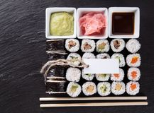 Japanese seafood sushi set Stock Photos