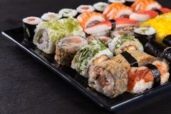 Japanese seafood sushi set Stock Image