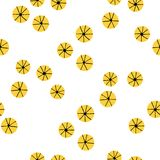 Japanese seamless abstract yellow flower pattern. On white background design for fabric, vector illustration Royalty Free Stock Photography
