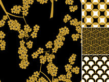 Japanese seamless pattern set with traditional ornaments Royalty Free Stock Image