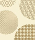 Japanese Seamless Patterns inside Big Circles. Japanese seamless monochrome patterns with swirls and geometric shapes inside big circles cartoon flat vector Stock Images