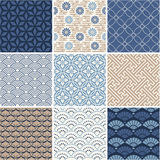 Japanese seamless patterns set. Vector set  - Japan seamless pattern collection Royalty Free Stock Photography