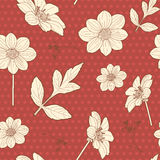 Japanese seamless red floral pattern Stock Photos