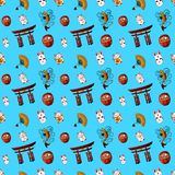 Japanese Seamless VECTOR Pattern, on Cat Kanji Means Cat, on Daruma - Dream. Japanese Seamless VECTOR Pattern, Colorful Background, on Cat Kanji Means Cat, on Royalty Free Stock Photography