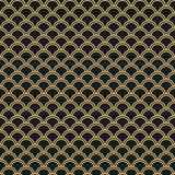 Japanese seamless vector pattern. Traditional oriental wave background. Black and gold. Circle mesh Stock Photos