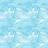 Japanese seamless waves. Pattern in ocean colors