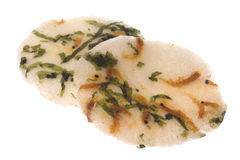 Japanese Seaweed and Prawn Crackers Isolated. Isolated image of Japanese seaweed and prawn crackers Stock Photo