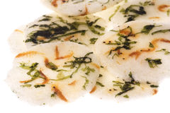 Japanese Seaweed and Prawn Crackers Isolated. Isolated image of Japanese seaweed and prawn crackers Royalty Free Stock Image
