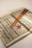 Japanese set. Old Japanese book from meiji period with chopsticks and japanese maple leaf royalty free stock photo