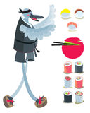Japanese set with cook Bird. Colored illustration. EPS 10.0. RGB. Illustration can be used as template for cafe, restaurants, japanese food bar. Also can be Stock Images