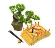 Japanese set with maki and sushi Stock Photography