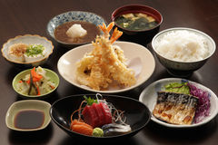Japanese set meal. With tempura Royalty Free Stock Image