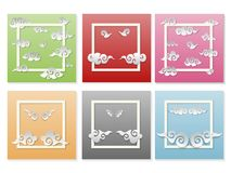 Japanese set of paper clouds with emotions, vector royalty free illustration